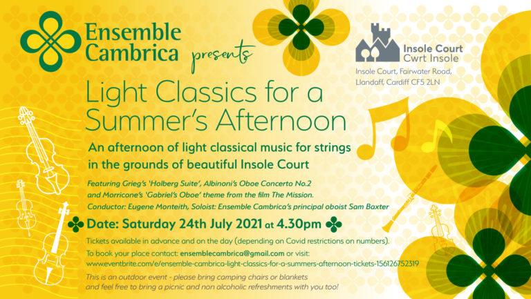Promo image: Ensemble Cambrica – Light Classics for a Summers Afternoon.